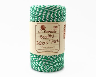Green Baker's Twine 100m - Emerald Green and White Twine - Luxury Twine by Everlasto - Christmas Baker's Twine - Green Butcher's Twine