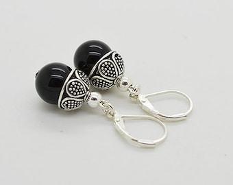 Onyx Lever Back Sterling Silver Earrings 85