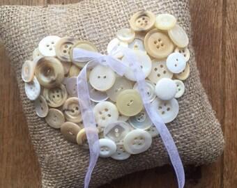 Hessian / Burlap & Vintage Buttons Rustic Wedding Ring Bearer Pillow