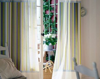 Pair of 63L 46W inch Custom curtains Baby room / Kids room Blue&Green stripes cotton