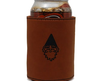 Gnome Leather Can Sleeve, Beer Sleeve, Beer Cooler, Beer Hugger