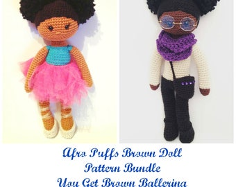 Crochet Doll Pattern Bundle, Two doll patterns,  Crochet Doll Pattern, Doll with Afro Puffs