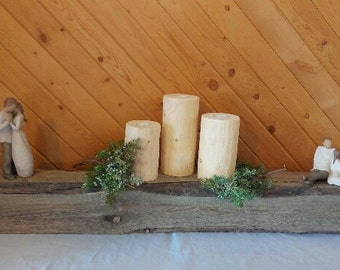 Mantle, Fireplace mantle, Barnwood mantle, Rustic beam, Gray wood , Barn beam, Wall decor, Home decor, Home remodel