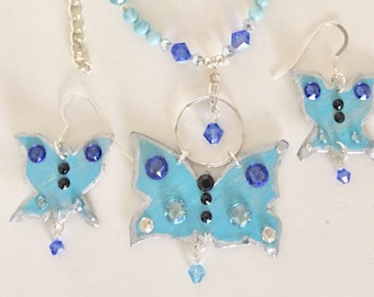 Butterflies in Sky Blue and Cobalt Crystals