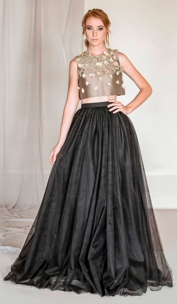 2 piece tulle and silk evening dress black tulle skirt