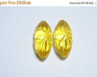 25% OFF Summer Sale 2 Pieces Yellow Quartz Hand Carved Rice Shaped Loose Gemstone Size 23X11 MM