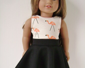 """18"""" doll clothes, Flamingo crop top with black skater skirt , 18 inch"""