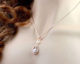 Rose Gold Bridal Pearl Necklace, Cubic Zirconia Pearl Teardrop Necklace Swarovski Wedding Pearl Pendant Necklace Bridal Ivory Pearl Necklace
