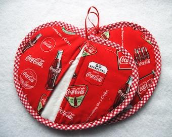 Hot pad  pot holder  set Coke Coca Cola Heartshaped pot pincher Last set Rare fabric