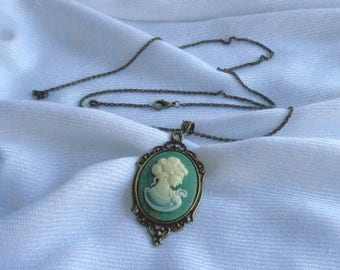 Long Cameo Pendant Necklace / Moss Green and Ivory Cameo / Antique Bronze Chain
