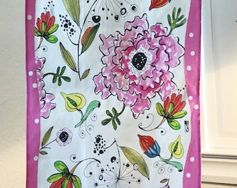 Kitchen Towel. These illustrations are right out of my sketchbook and onto a cotton linen quality tea towel Pink border with white polkadots