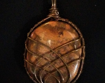 Large Copper Wire Wrapped Red Brecciated Jasper Pendant