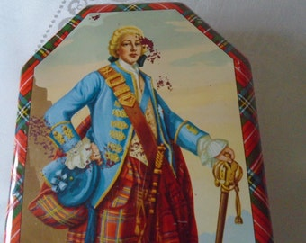 vintage Scottish tin Scotsman Tartan trim