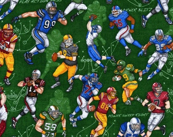 The Whole Nine Yards by Dan Morris for RJR Fabrics - Full or Half Yard Football Players on Green