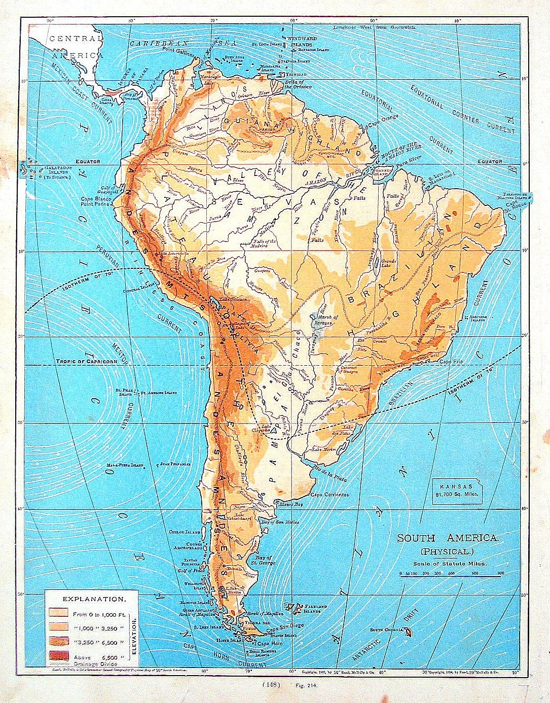 Map Of South America Physical Map Continent Map Antique - South america physical map