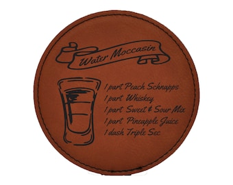 Water Moccasin Drink Coasters - Shots - Mixed Drink Recipies - Choice of Coaster Color and Shape - 086