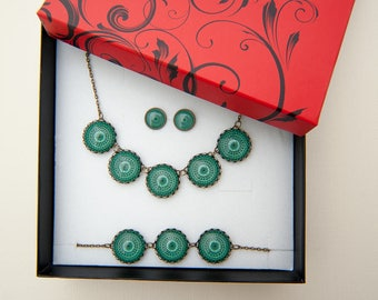 Graduation Gift for Her - Green Jewelry Set - Bridesmaid Jewelry Set - Green Mandala - Boho Bridesmaid Jewelry - Gift for Her - Gift Sister