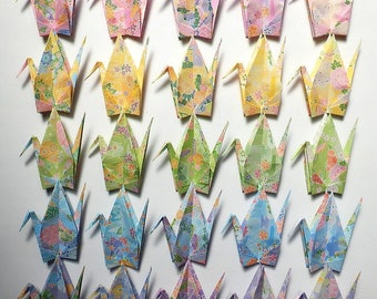 Flower Pattern - 100 Large Origami Cranes Origami Paper Cranes - Made of 15cm 6 inches Japanese Washi Chiyogami Paper