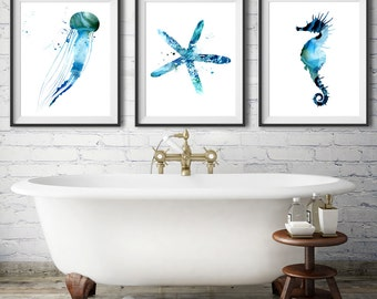 Watercolor print set Special offer Ocean art print Sea life prints Seahorse art Jellyfish art  Sea star print -72