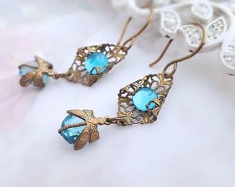 Aquamarine Dragonfly earrings,  aqua blue earrings, Art Deco style filigree earrings, antique bronze dragonfly jewelry, womens gift, bug