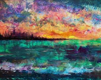 Coastal art print: colorful seascape art landscape wall art seascape wall decor ocean art abstract beach art seascape painting sunset art