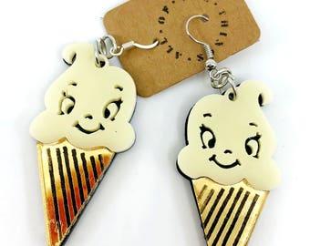 Ice Cream Earrings, DessertEarrings, Large Acrylic Earrings, White Ice Cream Earrings, Ice Cream Cone Earrings, Kawaii Earrings, Harajuku