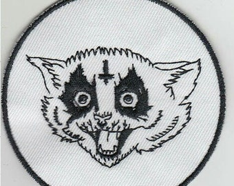 "3"" embroidered black meowtal / black metal cat patch"