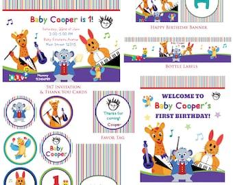 Customized Baby Einstein Birthday Invitation and Party Kit