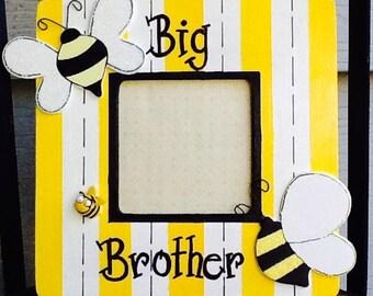 Big brother frame, big sister frame, bumble bee frame, newborn frame