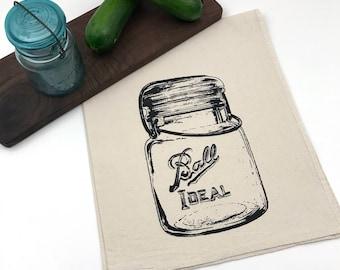Ball Canning Jar Flour Sack Towel - Deluxe Natural Tea Towel - Hand Screen Printed