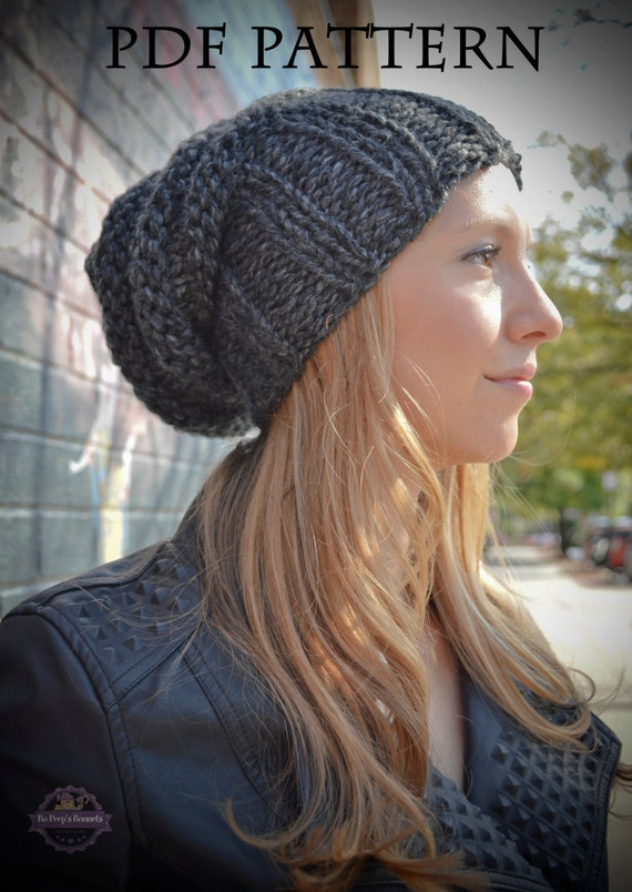 Knitting PATTERN Women\'s Slouchy Hipster Beanie Knit Hat
