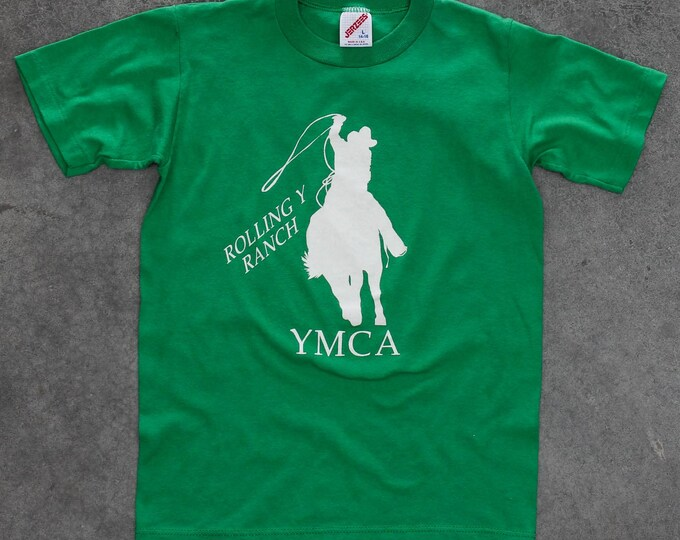 YMCA T-Shirt Youth Rolling Y Ranch Green 1990s Rodeo Horse Vintage T Shirt XXS 7W