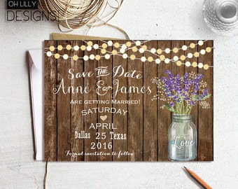 Save the Date Rustic, Save the Date Printable, Mason Jar Invitation. Wedding Save the Date, Country Save the Date, Lavender Invitation