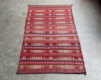 "45% Discount.Handmade Antique Baluchi Afghan Sistan Tribal Kilim.Turkish Kilims.Size 4'10""x3' ft/ 147x90 cm"