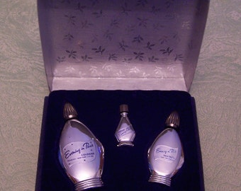 Evening in Paris set of three silver bottles perfume cologne Eau de Toilette in original box