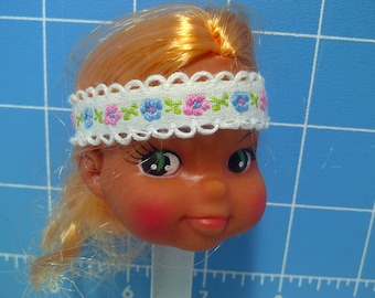"""Vinyl Indian Girl Doll Head Blonde Rooted Hair, White with White Trim and Flowers Headband, 3"""" Tall with 3/4"""" Neck"""