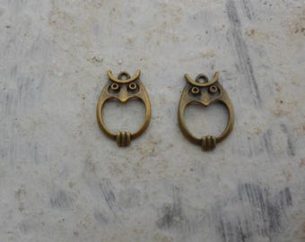 1 set of 2 OWL charms bronze