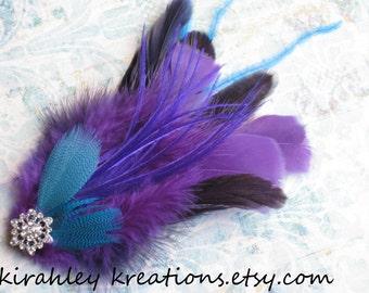 Purple Teal Turquoise Feather Fascinator Wedding Bride Bridesmaid Hair Clip PHEOBE Flapper Style Hairpiece Headpiece Roaring 20's Rhinestone