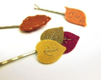 Autumn Leaves Bobby Pins, Autumn Hair Pins for Women, Fall Leaves, Embroidered Felt Leaves, Girls, Women Hair Pins for Fall