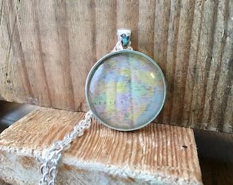 Africa Egypt Globe Pendant Necklace Map World Travel Wanderlust Gift for Traveler Earth Nation