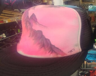 Handpainted custom trucker hat.