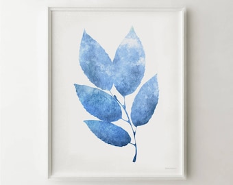Blue leaves art, Blue print, Blue wall art Digital Printable wall print, 8x10 print Nature wall decor Bedroom wall art, Blue and white print