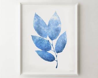 Blue art print, Blue wall art, Blue Leaf Printable wall art, Blue print, 11x14 wall print, 8x10 print art Nature wall decor Bedroom wall art