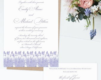 Lavender Wedding Invitation Suite, Rustic Wedding Invitation, Provence Wedding Invite