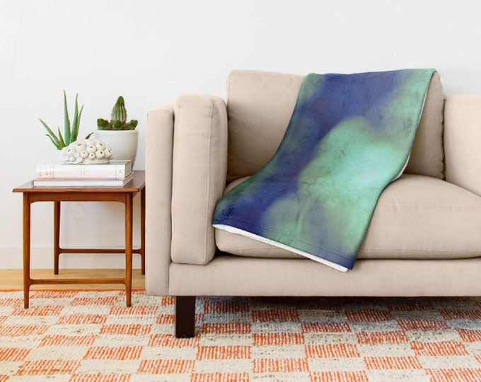 Green Super Soft Fleece Throw Blanket - Bedding - Green Bokeh Photography - Fleece Throw Blanket - Made to Order