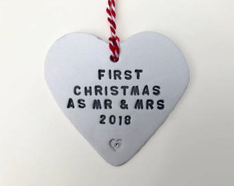Mr and Mrs Christmas Decoration, First Christmas Ornament, Married Couple Gift, Christmas Wedding Gift, Tree Decoration, Old Flour House