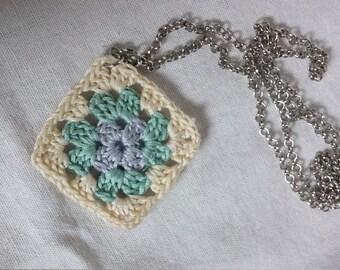 Mini Granny Square Necklace // mini crochet granny square