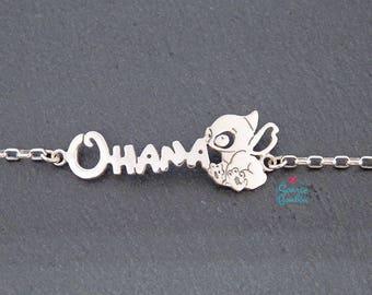 Ohana and Stitch Disney bracelet   Stitch bracelet   Sterling Silver Ohana Stitch bracelet   Ohana Stitch bracelet  Lilo and Stitch bracelet