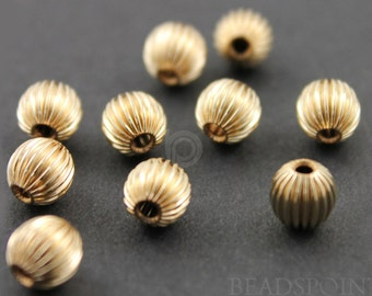 Gold Filled 5 mm Corrugated Round Bead with 1.5 mm Hole,1 Piece, Sold INDIVIDUALLY, Just buy as many you need,(GF/560/5)