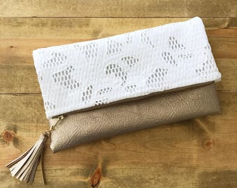 White Lace & Metallic Champagne Faux Leather Foldover Clutch - Gift for her, Birthday, Anniversary, Bridesmaid